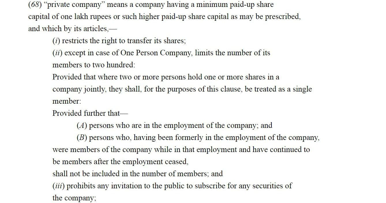 What is a private limited company?