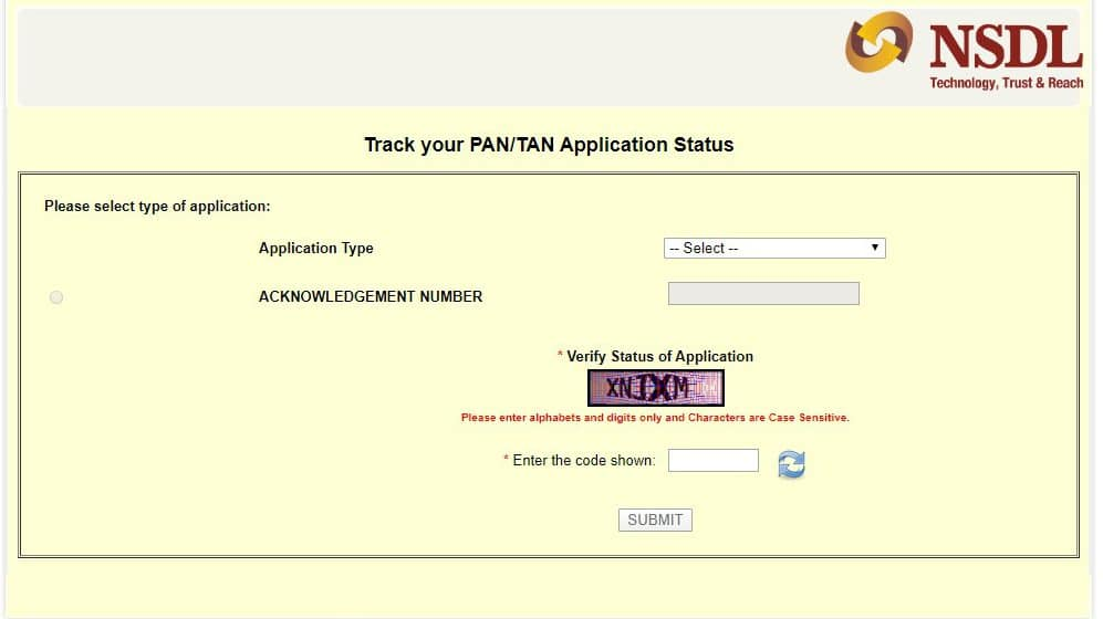 How to check PAN card status - NSDL website