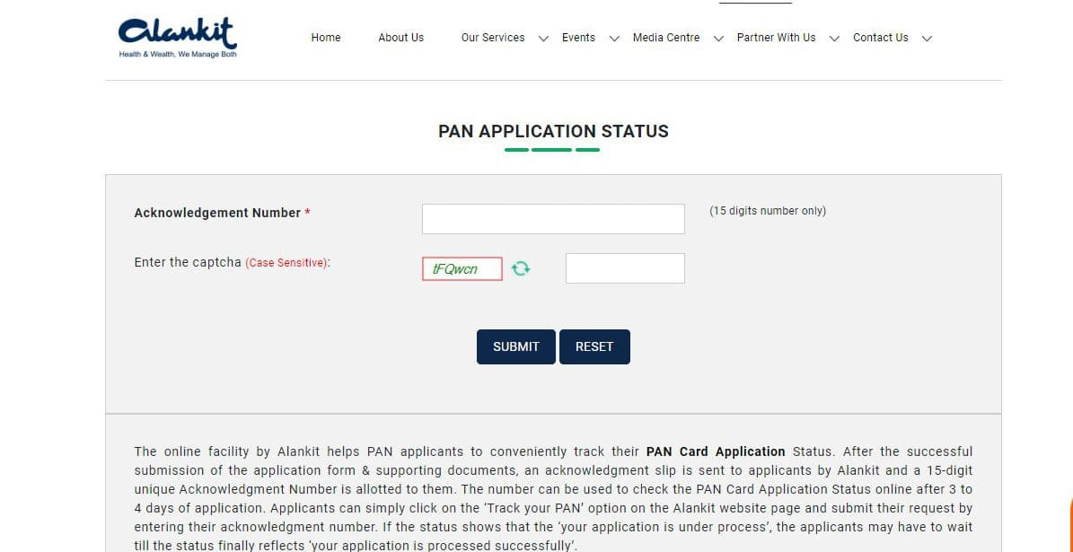 How to check PAN card status - Alankit