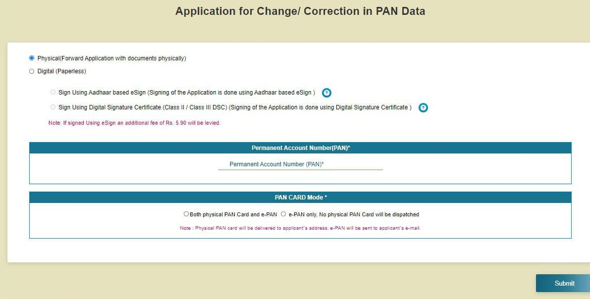 How to apply for PAN correction?