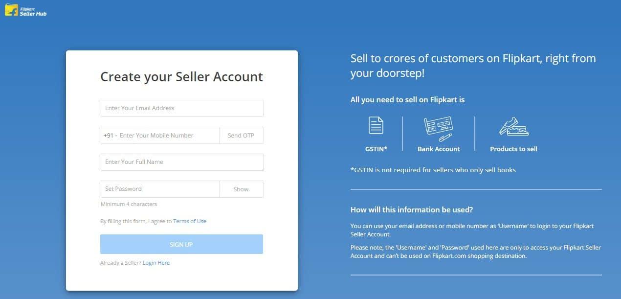Flipkart Seller Registration